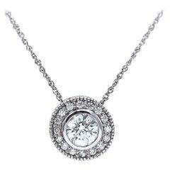 Blue Nile Diamond Pendant Necklace 14 Karat White Gold Round 1.02 Carat