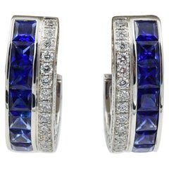 Robert Procop Dark Blue Sapphire Masterpiece Clutch Earrings in Platinum