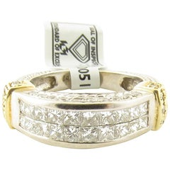 14K White Yellow Gold Square Modified and Round Brilliant Diamond Ring 1.30 Ct