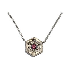 Hexagon Necklace in 14 Karat White Gold and Gems-White and Pink