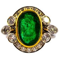 Art Deco 3.48 Carat Emerald 1.10 Carat White Diamond White Gold Cocktail Ring