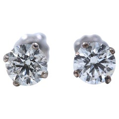 Celebration Round Diamond Stud Earrings 1.00 Carat Set in 14 Karat White Gold