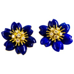 Lapis Lazuli 0.78 Carat White Diamond Yellow Gold Clip-On Flowers Earrings