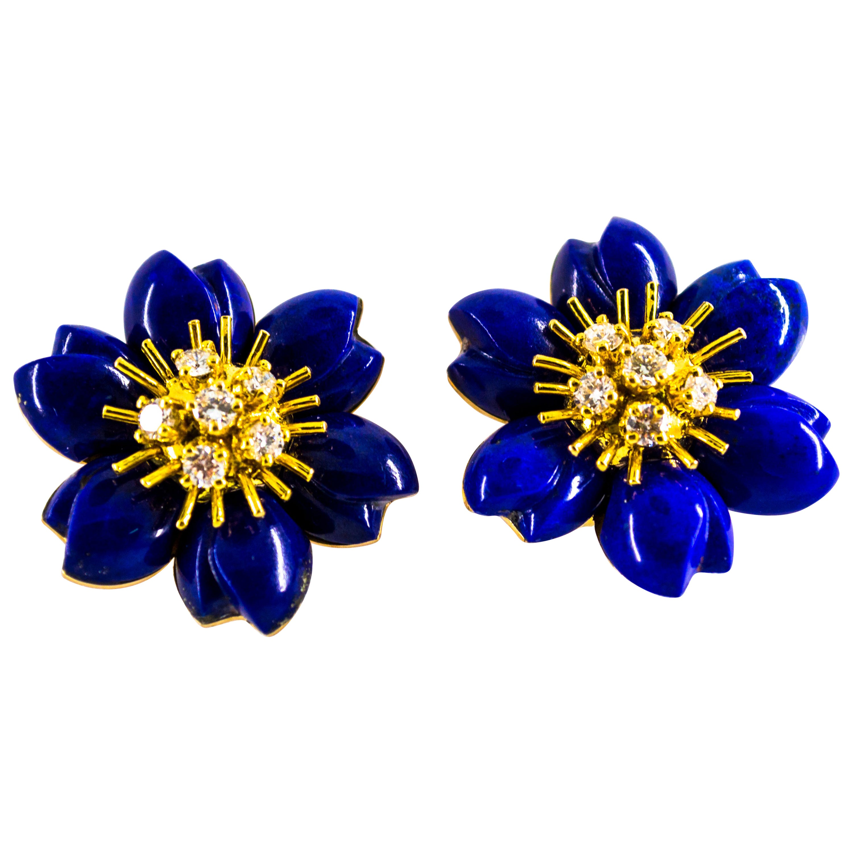 Lapis Lazuli 0.78 Carat White Diamond Yellow Gold Clip-On Flowers Earrings