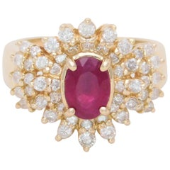 2.40 Carat Ruby and Diamond Cocktail Ring