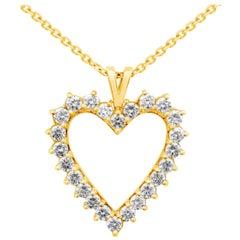 2.92 Carat Diamond Open Heart Pendant Necklace