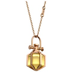 Modern Sacred Minimalism 18k Rose Gold Talisman Amulet Necklace w/ Lemon Citine