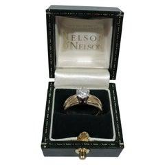 Classic American 14 Karat Gold Ring with Brilliant-Cut Diamond