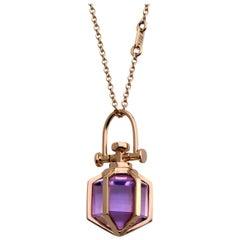 Modern Sacred Minimalism 18 Karat Gold Talisman Amulet Necklace with Amethyst