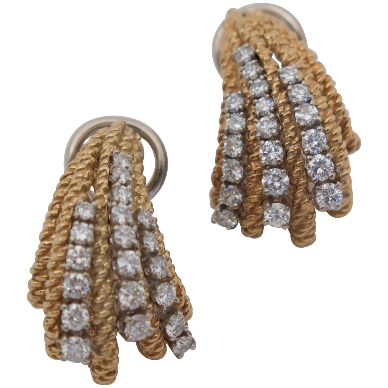 1960's Organic-Form Diamond and Gold Earrings