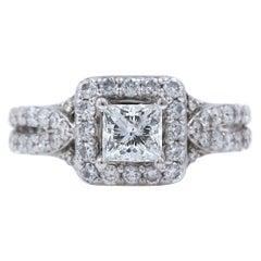 Tolkowsky Diamond Engagement Ring Princess 1.56 Carat 14 Karat White Gold