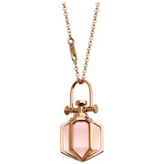 Modern Sacred Minimalism 18 Karat Gold Talisman Amulet Necklace with Rose Quartz