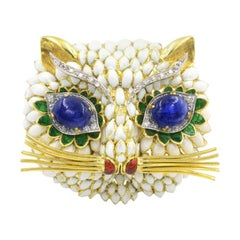 Sapphire Eyed Enamel Kitty Cat Brooch, 1960s