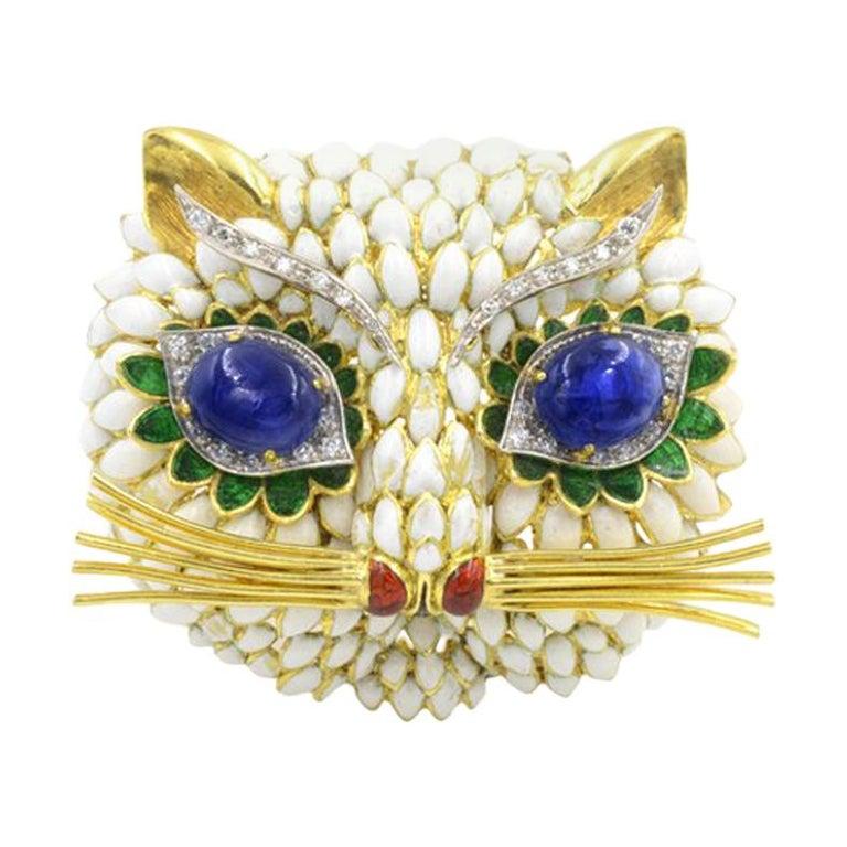 Sapphire Eyed Enamel Kitty Cat Brooch, 1960s For Sale
