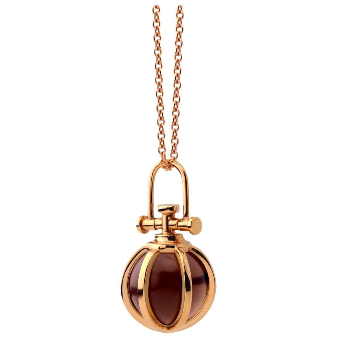 Modern Sacred 18 Karat Rose Gold Crystal Orb Amulet Necklace with Smoky Quartz