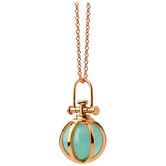 Modern Sacred 18 Karat Gold Crystal Orb Amulet Necklace with Natural Aventurine