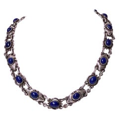 Georg Jensen Lapis and Sterling Silver Necklace, circa 1930