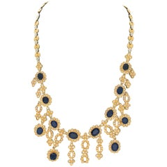 18 Karat Yellow and White Gold 30.48 Carat Sapphire and Diamond Necklace