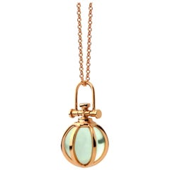 Modern Sacred 18 Karat Rose Gold Crystal Orb Amulet Necklace with Green Amethyst