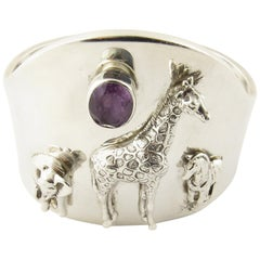 Carol Felley Southwestern Sterling Silver Wildlife Amethyst Cuff Bracelet, 1997