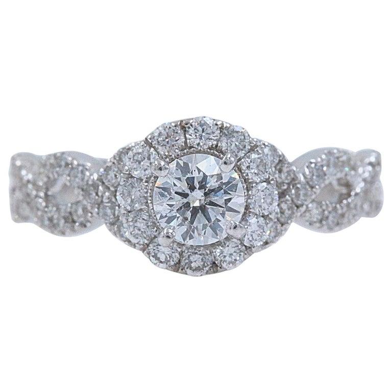 9635a4a4d Neil Lane Diamond Engagement Ring Round 1.00 Carat 14 Karat White Gold For  Sale