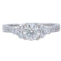 Neil Lane Diamond Engagement Ring Round 1 1/3 Carat in 14 Karat White Gold