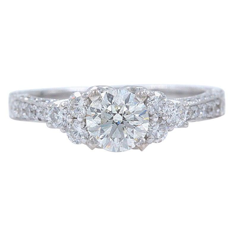 3c9243c37 Neil Lane Diamond Engagement Ring Round 1 1/3 Carat in 14 Karat White Gold