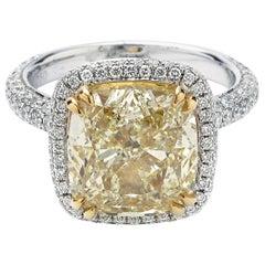 GIA Certified 7.10 Carat Centre Fancy Yellow Diamond Ring in 18 Karat White Gold
