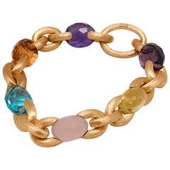 18 Karat Yellow Gold Multi-Color Stone Bracelet by Nania
