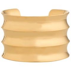 Agmes Gold Vermeil Sculptural Ridged Cuff