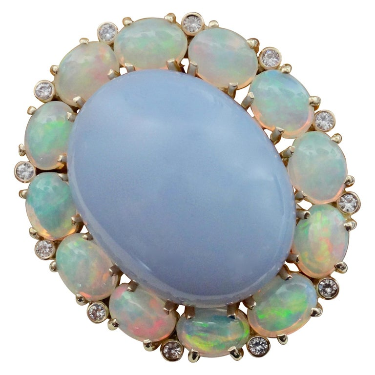 Michael Kneebone Blue Chalcedony Ethiopian Opal Diamond Cocktail Ring For Sale