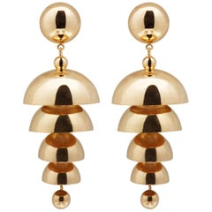 AGMES Gold Vermeil Layered Chandelier Drop Sculptural Earrings