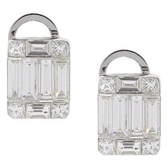 Princess Cut and Baguette Cut Diamond Mosaic Stud Earrings