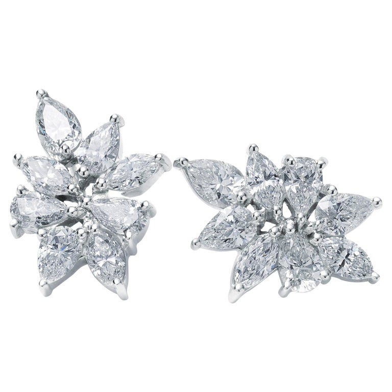 Pear and Marquise Diamond Cluster Earrings 7.79 Carat Total Weight For Sale