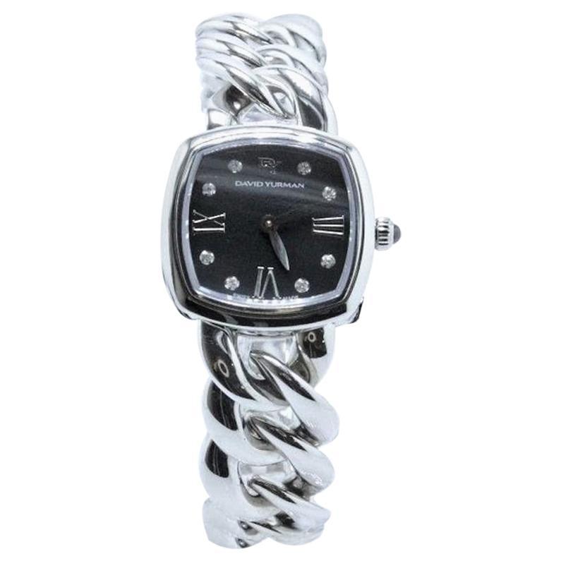 David Yurman Albion Stainless Steel Watch with Diamond Black Face
