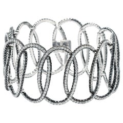 Interlocking Large Ovals 3-Row Pave Diamond Bracelet