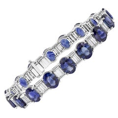 Alternating Blue Sapphire and Diamond Modern Bracelet