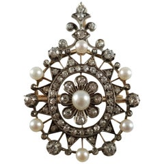 Victorian 15 Karat Gold, Silver, Diamond, and Pearl Pendant Brooch, circa 1880