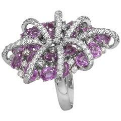 Oval Pink Sapphires Diamond Cocktail Statement Ring in 18 Karat White Gold