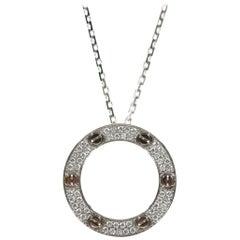 Cartier 18 Karat White Gold Love Necklace, Diamond-Paved