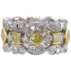 Fancy Jack Kelege 2.6 tcw Yellow & 1.7 tcw White Natural Diamond Eternity Band