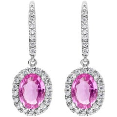 Pink Sapphire and Diamond Halo Dangle Earrings