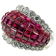 Rare Van Cleef & Arpels Mystery Set Ruby and Diamond Platinum Ring