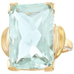 Retro 1950s Aquamarine Set Gold Ring