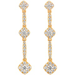 1.03 Carat Cluster Diamond Drop Earrings in Rose Gold