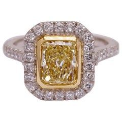 Fancy Yellow 1.11 Carat Certified Diamond Engagement Ring