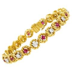 Hammerman Brothers Diamond and Ruby Set Gold Bracelet