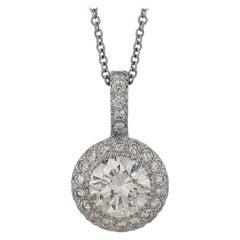 2.00 Carat Diamond Halo Pendant Necklace