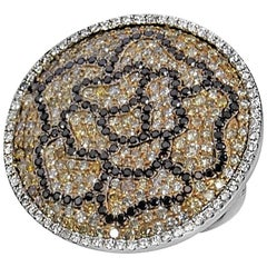 Round Ring Set with Fancy Color and Black Diamonds in 18 Karat White Gold Floral