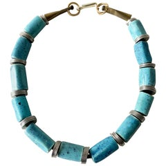 Doyle Lane Turquoise Ceramic Bead Steel California Studio Necklace